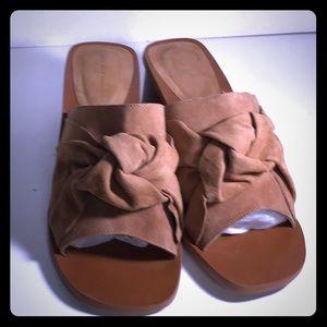 "Zara Basic S/11 knotted Suede Sandals 2"" heel"